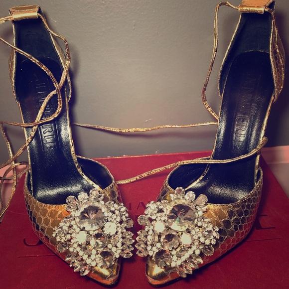 Jennifer Le Shoes - Gold Embellished Heels